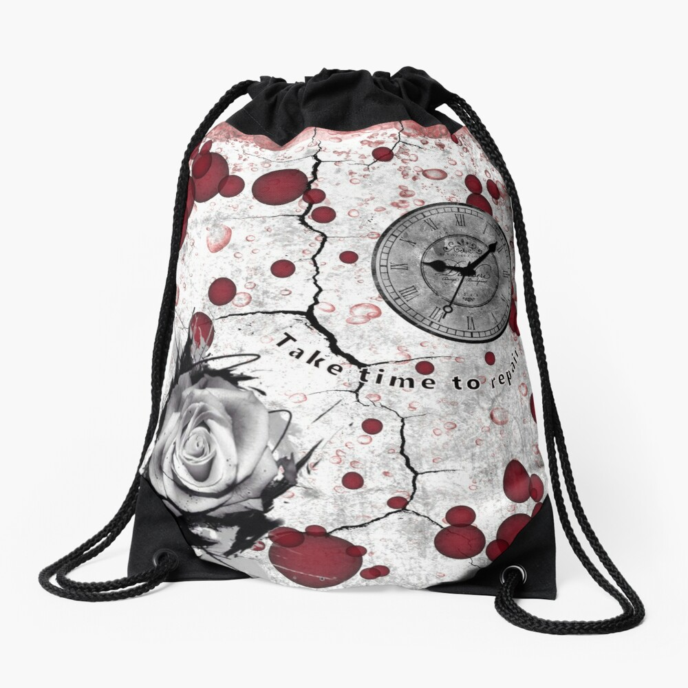 Trash Polka No 12. Digital Collage  Drawstring Bag