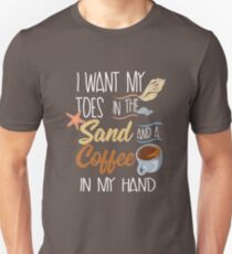 Toes In The Sand And Coffee In My Hand Slim Fit T-Shirt