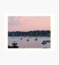 Pastels in the harbor Art Print