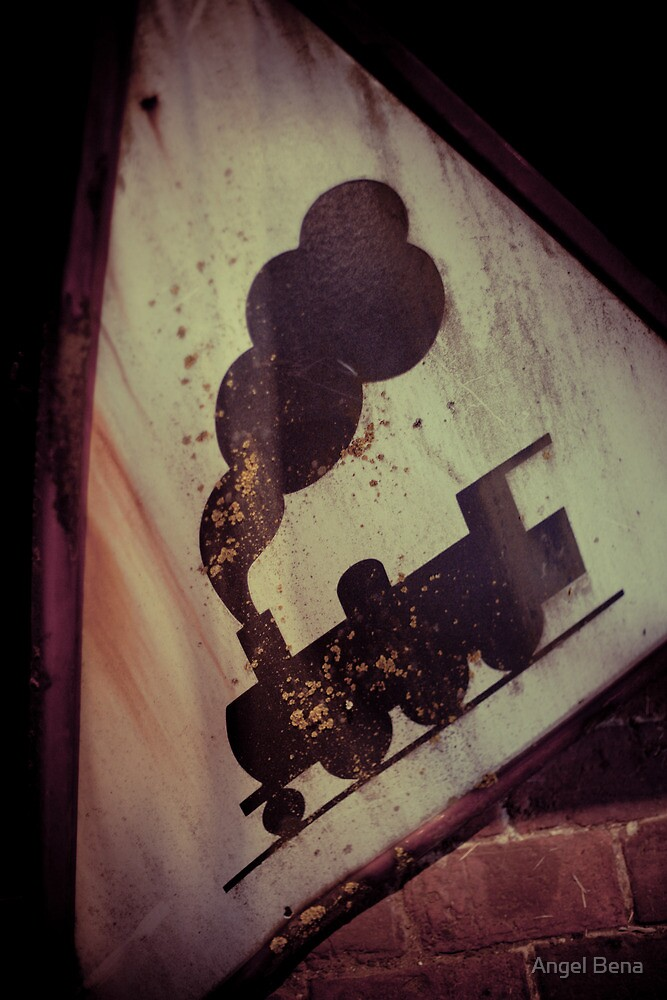 """Old road sign """"Train"""" by Angel Benavides"""