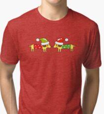 2 Christmas sausage dogs greetings Tri-blend T-Shirt