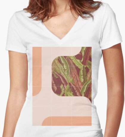 Mid-Century Tropical Way #redbubble #tropical Fitted V-Neck T-Shirt