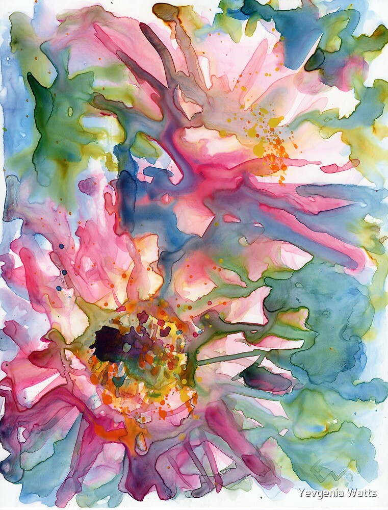 Quot Cactus Flowers Watercolor On Yupo Quot By Yevgenia Watts