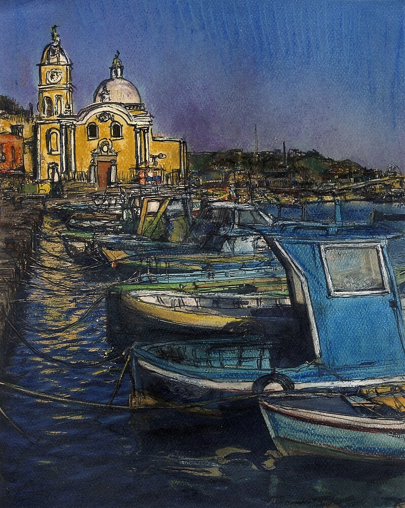 Dusk Falls Over Procida Fleet by Randy Sprout