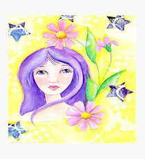 Whimiscal Girl with Long Purple Hair Photographic Print