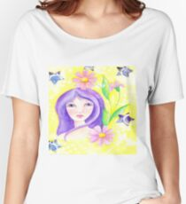 Whimiscal Girl with Long Purple Hair Women's Relaxed Fit T-Shirt