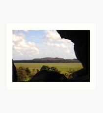 Looking through a hole in the rock Art Print