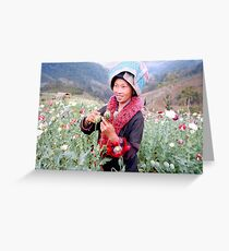 Happy opium poppy farmer Greeting Card