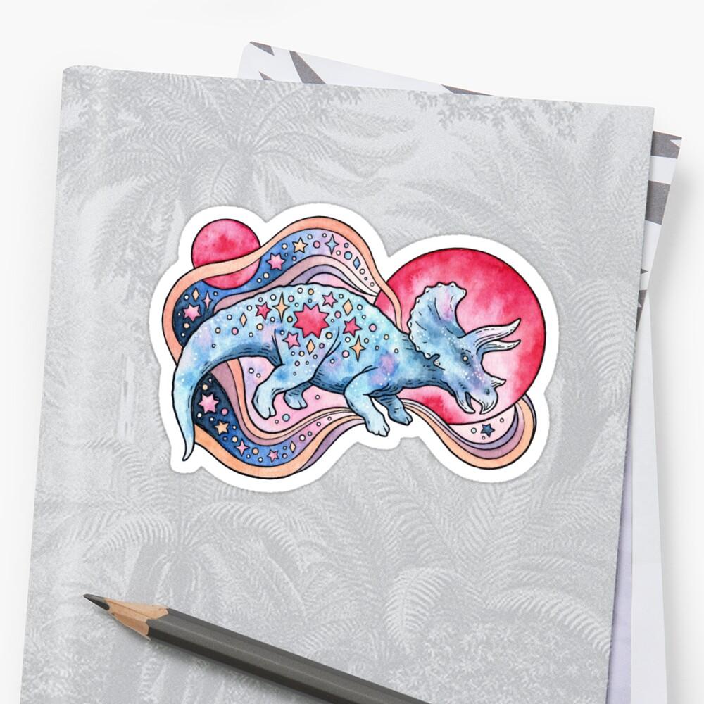 Star Tricera | Cosmic Dinosaur Watercolor Sticker