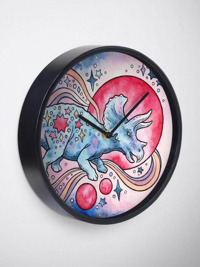 Alternate view of Star Tricera   Cosmic Dinosaur Watercolor Clock