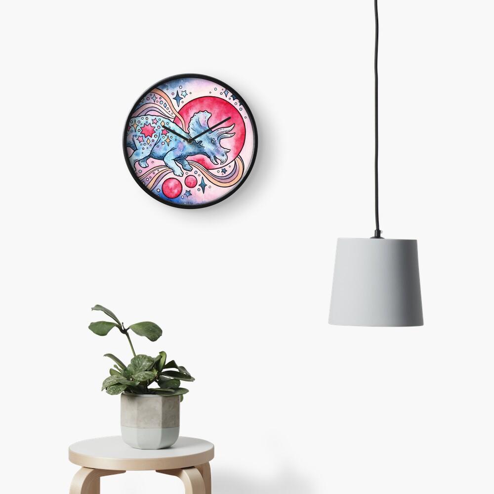 Star Tricera   Cosmic Dinosaur Watercolor Clock