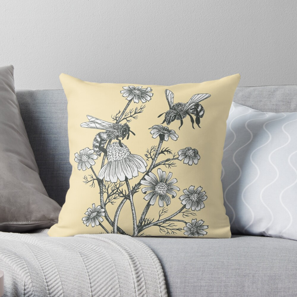 bees and chamomile on honey background  Throw Pillow