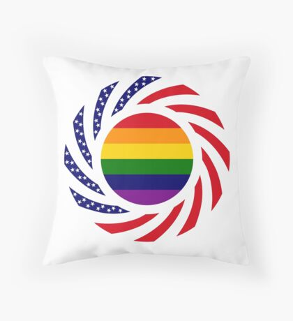 Rainbow American Patriot Flag Series Throw Pillow