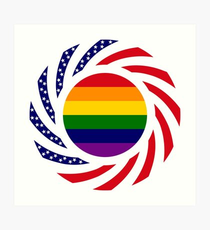 Rainbow American Patriot Flag Series Art Print