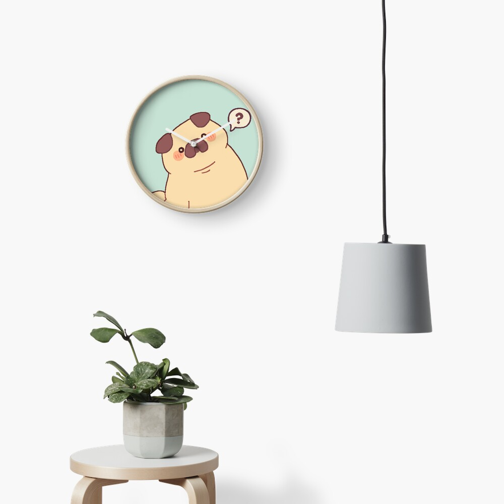 Cute & Confused Chubby Pixel Pug  Clock