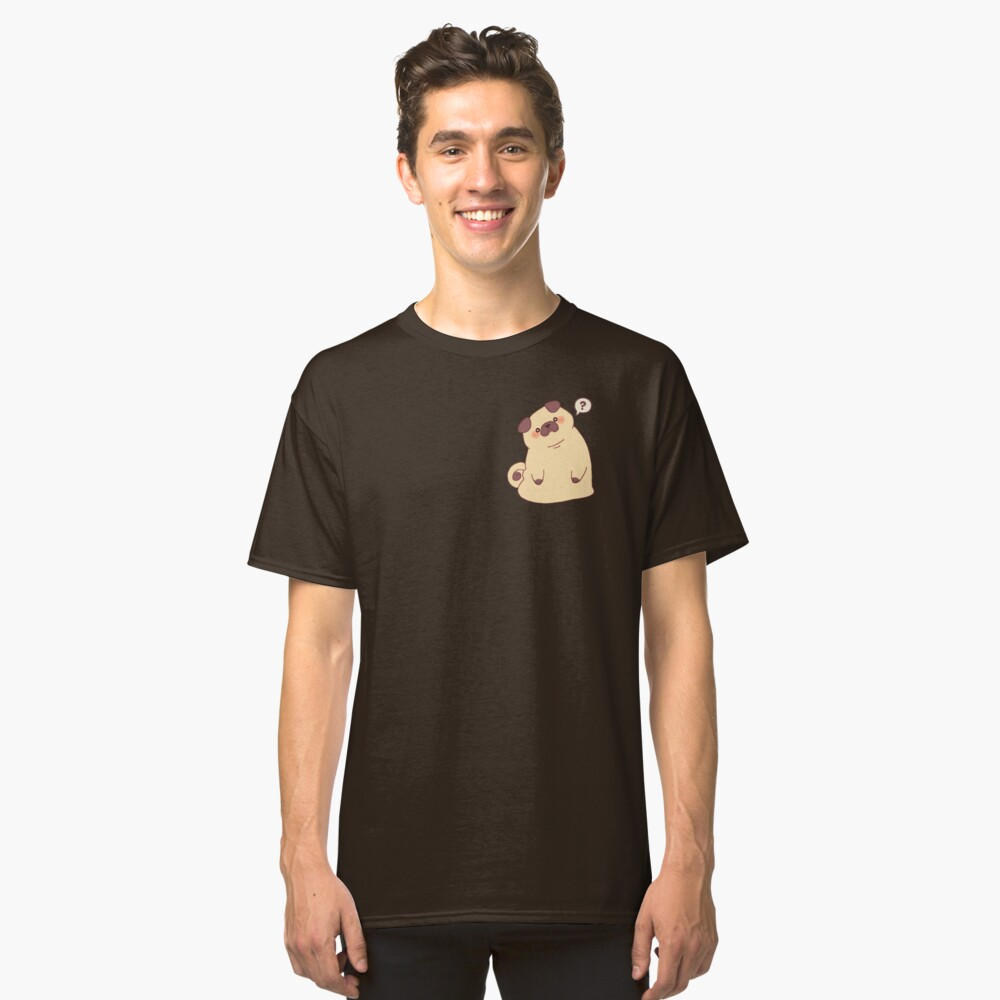 Cute & Confused Chubby Pixel Pug  Classic T-Shirt