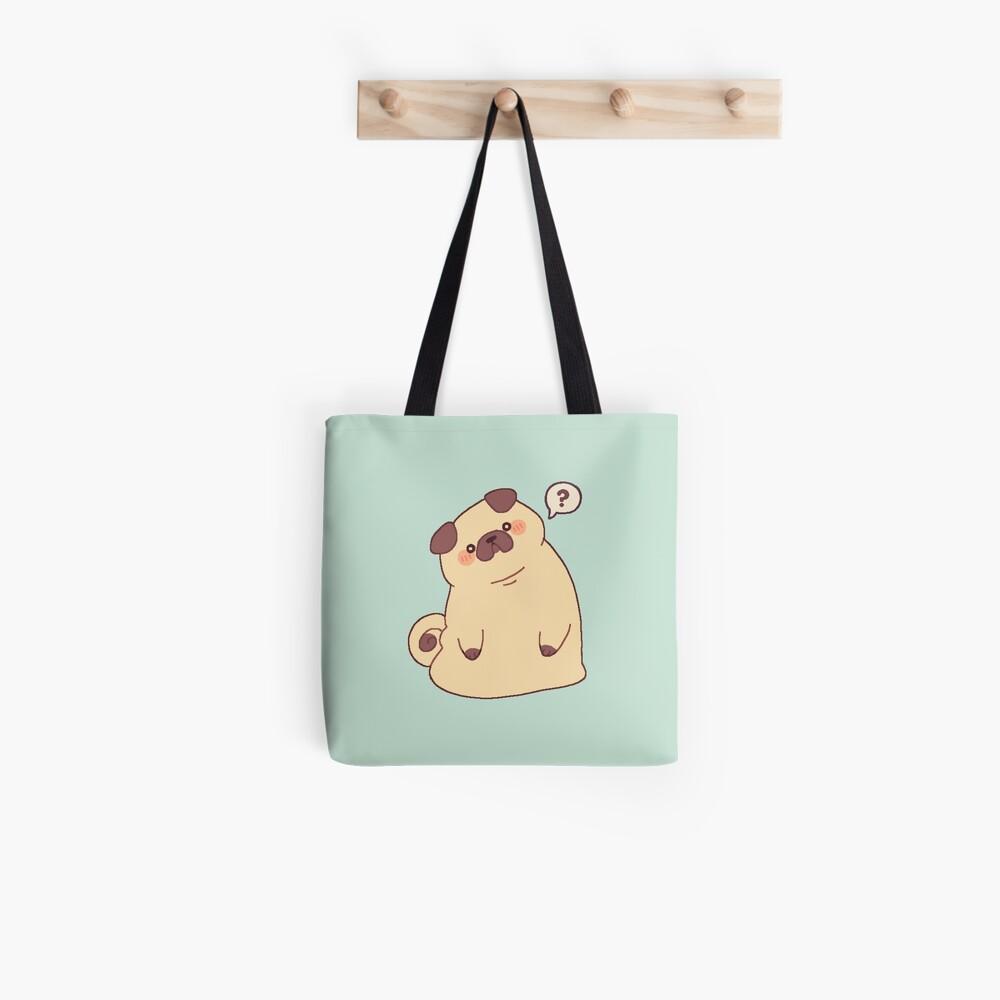 Cute & Confused Chubby Pixel Pug  Tote Bag