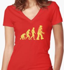 Sheldon Robot Evolution Tailliertes T-Shirt mit V-Ausschnitt
