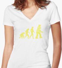 Sheldon Robot Evolution Women's Fitted V-Neck T-Shirt