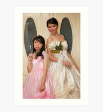 bride and flower girl gown design 8 Art Print