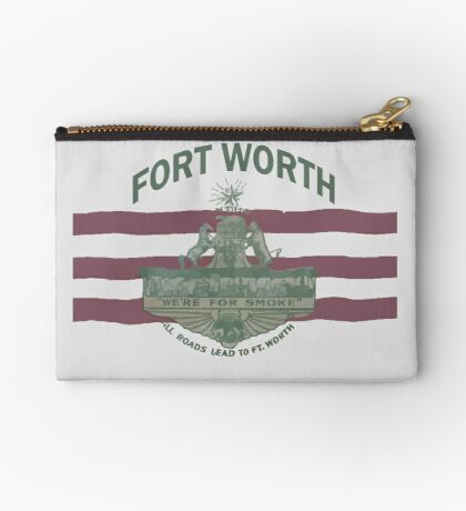1912 Fort Worth Flag - We're For Smoke - All Roads Lead to Ft. Worth with City Name (Recolored) Zipper Pouch