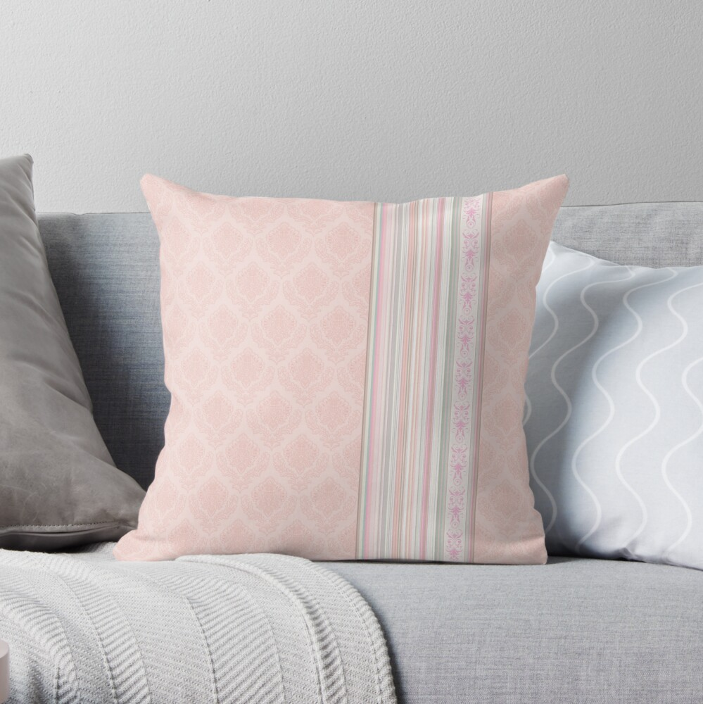 Faux Flock with Contrasting Stripes - Flesh Pink Throw Pillow