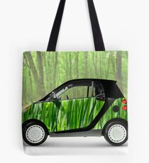 Green Mini Car Smart Fortwo in the Nature Tote Bag