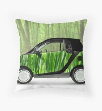 Green Mini Car Smart Fortwo in the Nature Throw Pillow