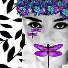 DRAGONFLY WOMAN PURPLE  AND BLUE FLOWERS by Saundra Myles