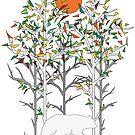 Bunte geometrische Bäume und ein weißer Bär von masatomio