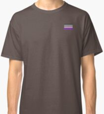 Asexual Pride Ace Flag Flowers (Black, Grey, White, Purple) Classic T-Shirt