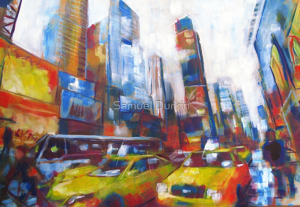 Times Square Yellow Taxi Cabs New York painting by Samuel Durkin