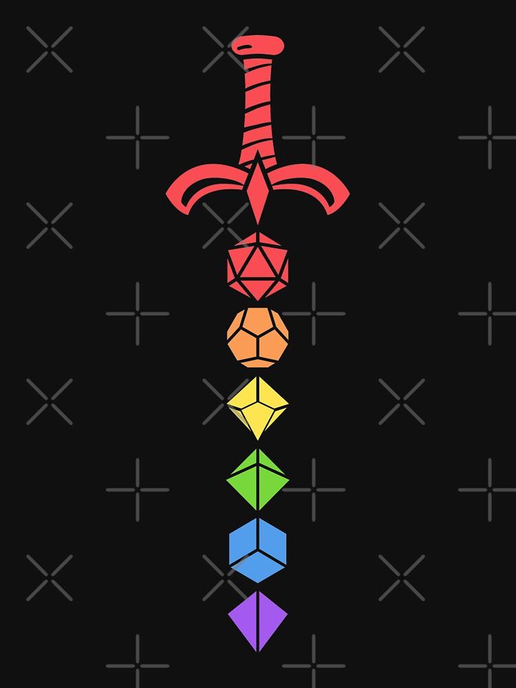 Rainbow Polyhedral Dice Set Tabletop RPG Addict de pixeptional