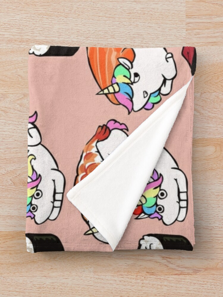 Alternate view of  Sushi Unicorn Throw Blanket