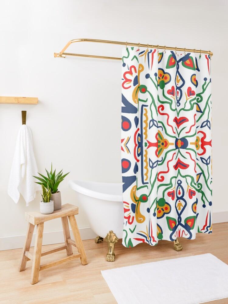 Alternate view of Truck Art- White Shower Curtain
