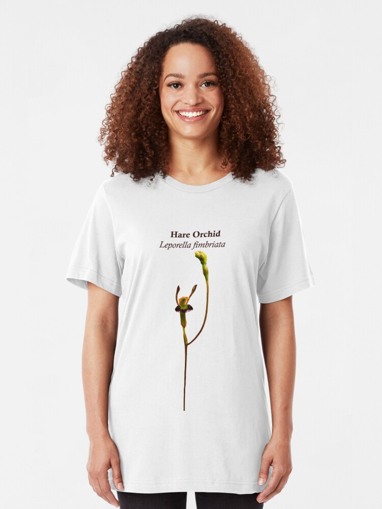 Alternate view of Hare Orchid, Leporella fimbriata Slim Fit T-Shirt