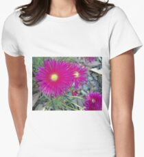 Pink Pointy Portulaca Petals Women's Fitted T-Shirt