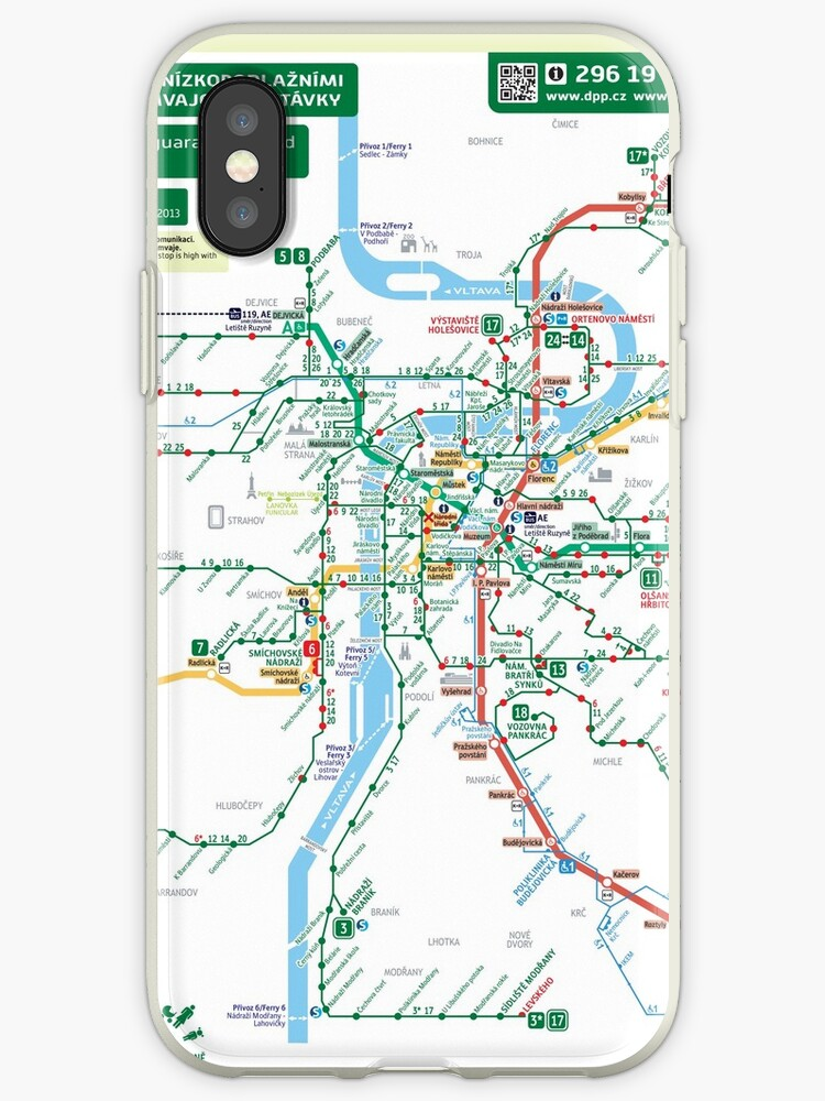 \'Czech Republic - Prague - Praha - Metro and Metro Map (Barrier-Free) - HD\'  iPhone Case by superfunky