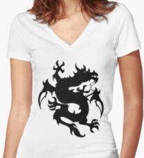 Mythical tribal dragon Women's Fitted V-Neck T-Shirt