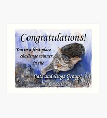 Banner for 1st place challenge winner in Cats and Dogs Group Art Print