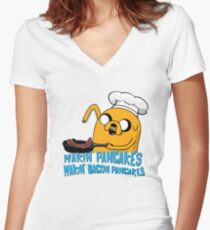 MAKIN' PANCAKES, MAKIN' BACON PANCAKES. Women's Fitted V-Neck T-Shirt
