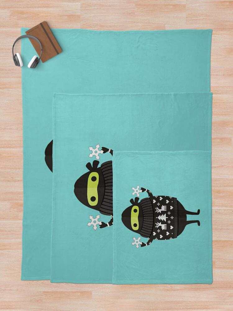 Alternate view of Ninjacado in Holiday Sweater Throw Blanket