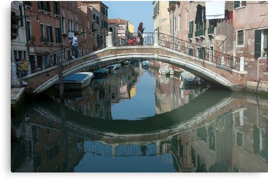 Crossing the Bridge, Venice, Italy by L Lee McIntyre
