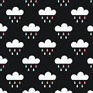 Regenwolken und Regentropfen auf Holzkohle von daisy-beatrice