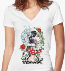 Alice in Zombieland - schmokin Caterpillar (white) Women's Fitted V-Neck T-Shirt