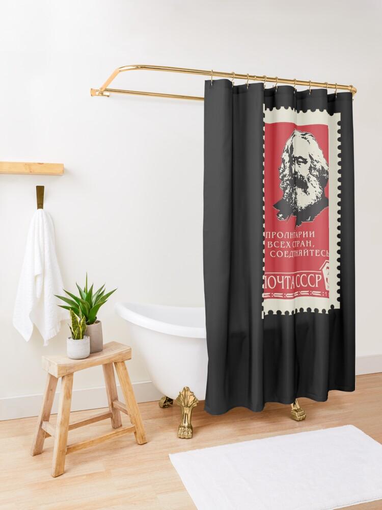 Alternate view of Karl Marx USSR Soviet Union Propaganda Shower Curtain