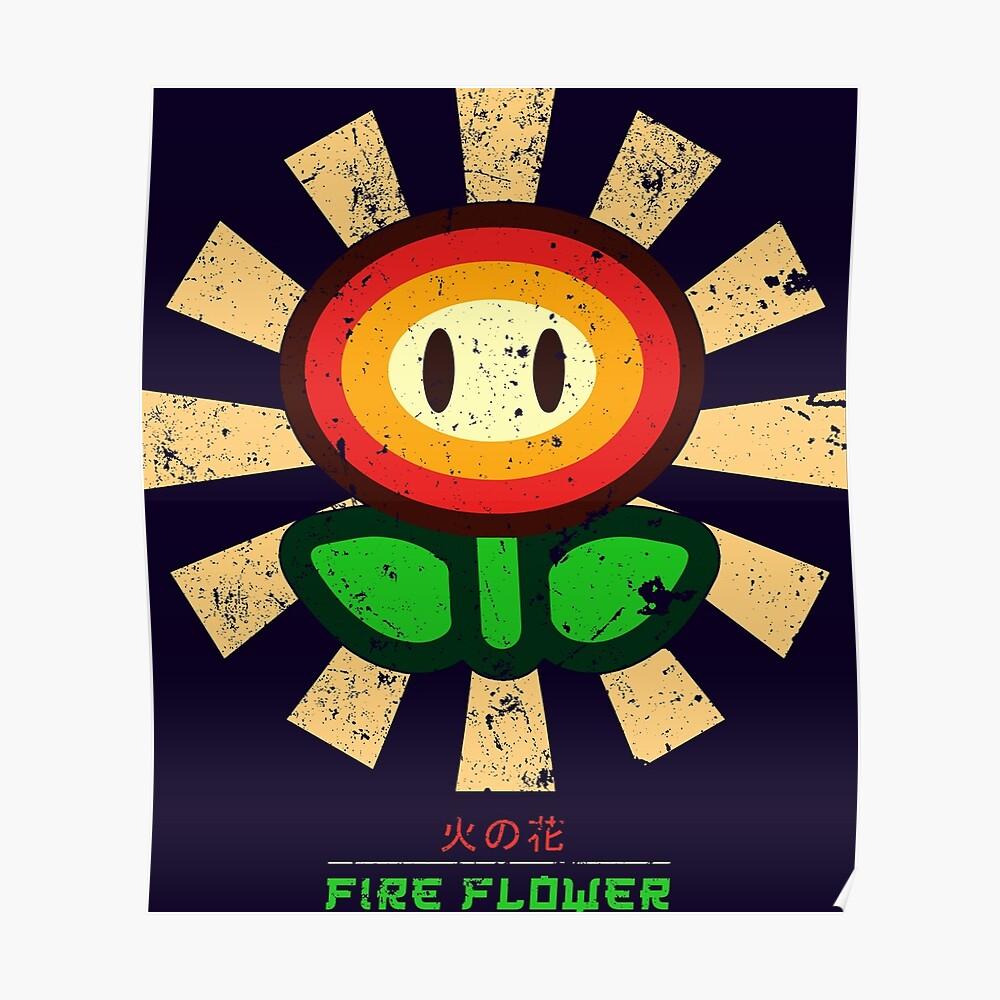 Feuerblume Retro Japaner Mario Poster