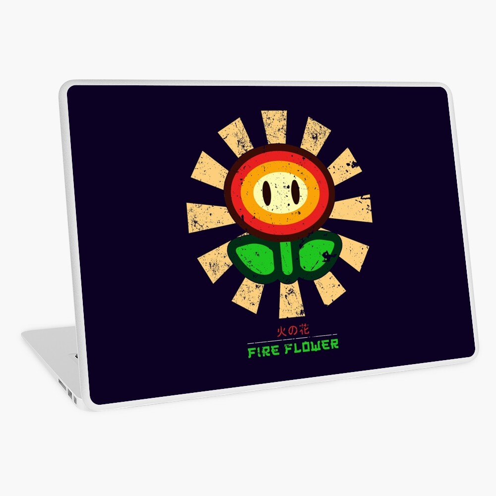 Feuerblume Retro Japaner Mario Laptop Folie