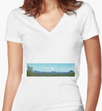 Glasshouse Mountains (Panorama) Women's Fitted V-Neck T-Shirt