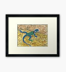 Daily Doodle 6 - Lizard Sunning on a Sizzling Stone Framed Print